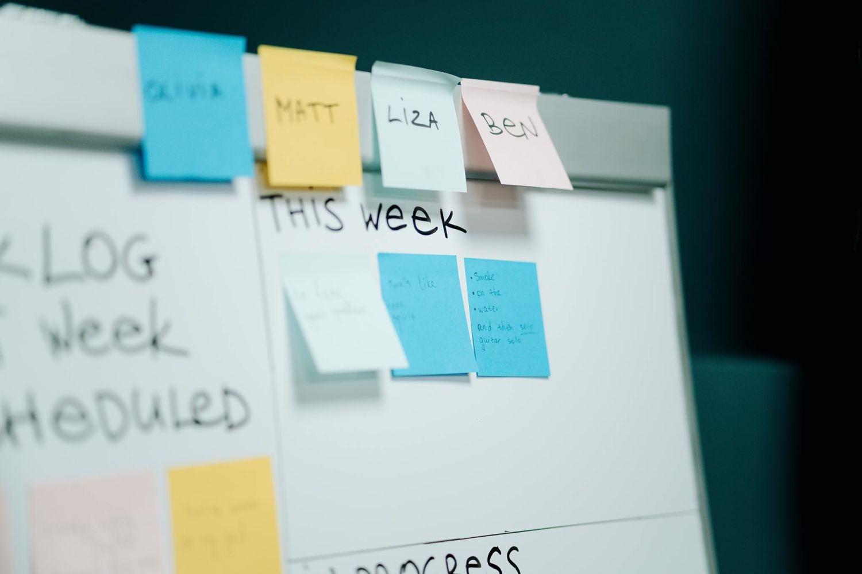 Tracking marketing team's progress on the whiteboard